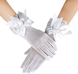 JISEN Women Lace gloves Party Elegant Bridal Wedding Short Mittens
