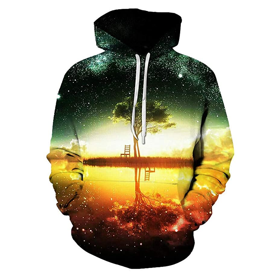 YOcheerful Men's Plus Size Hoodie Long Sleeve Pullover Winter Hooded Sweatershirt Christmas Top Blouse