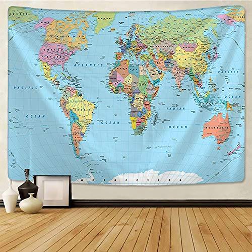 Mapa del mundo tapiz mapa HD tela colgante de pared decoración acuarela mapa alfabeto toalla de playa tela de fondo a1 150x200cm