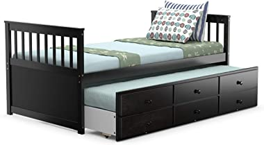 Giantex Twin Captain's Bed with Trundle Bed, Wood Storage Daybed with 3 Storage Drawers, Bunk Bed Alternative, No Box Spring
