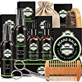 Beard Kit, Beard Grooming Kit with Beard Wash, Beard Conditioner, Beard Oil, Beard Balm, Beard...