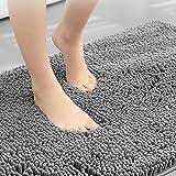 Alfombra de Baño Antideslizante, Alfombrilla de Ducha Microfibra Lavables para Baño Cocina Dormitorio Mascota - 40 x 60 cm, Gris