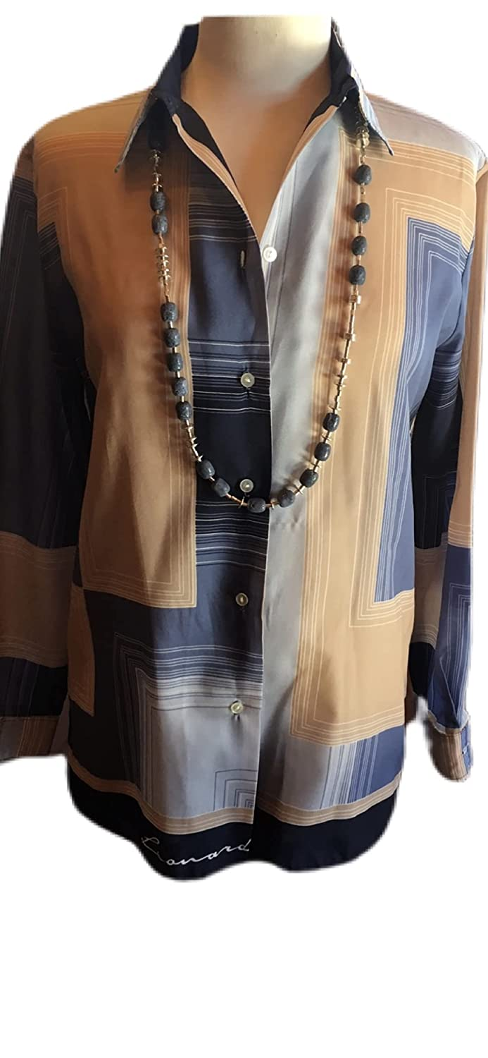 Custom Couture Cheap super special price L blue Recommendation and tan long blouse with geometric la
