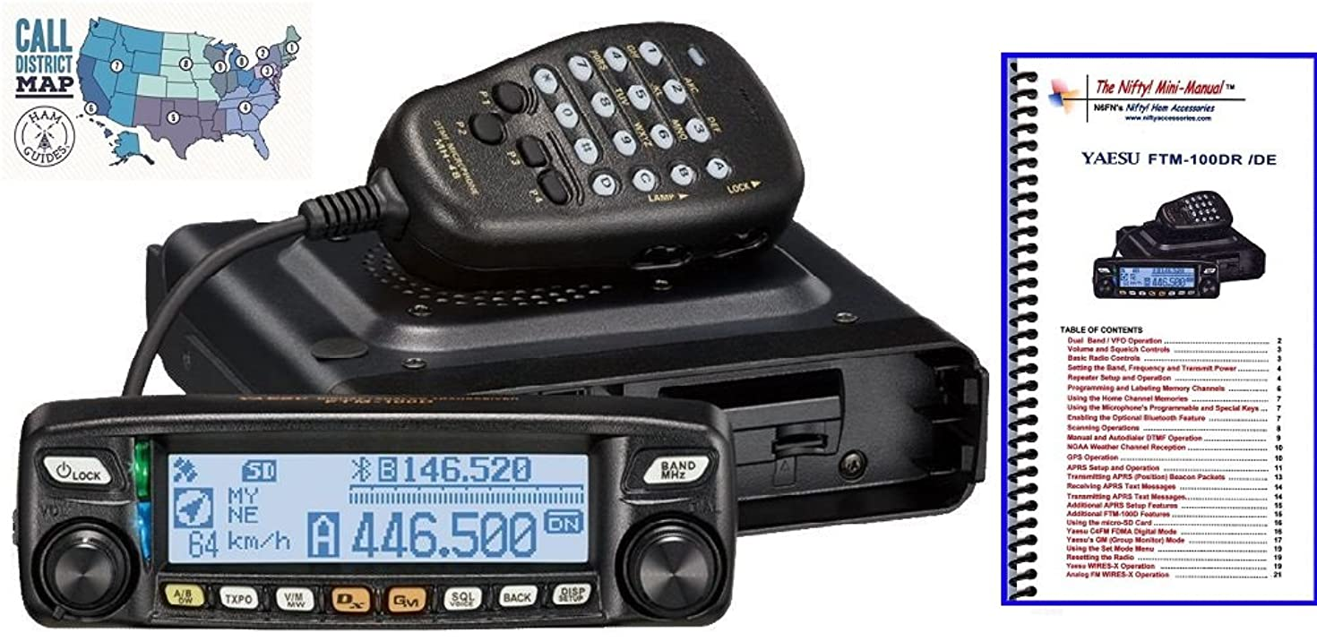 Bundle - 3 Items: Includes Yaesu FTM-100DR VHF/UHF 50W Mobile Transceiver with Nifty! Accessories Mini-Manual and Ham Guides TM Quick Reference Card!!