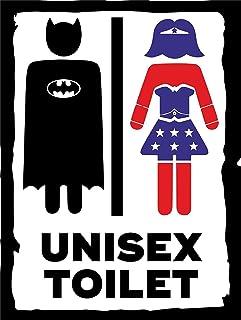 Comic Hero Inspired Toilet Bath Affiche en étain Rétro en Métal Peint Art Affiche Décoration Avertissement Plaque Bar Café