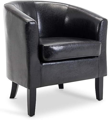 popular BELLEZE Modern Club Chair Accent Elegance online Faux wholesale Leather Living Room Armrest Elegance Seat, Black online