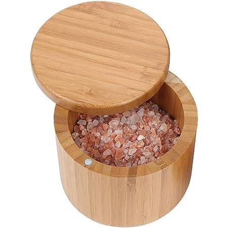OurLeeme Boîte de Rangement dépices, boîte de Stockage dépices en Bois de sel de Bambou avec récipient à Couvercle pivotant pour Pot dassaisonnement de Stockage de Cuisine
