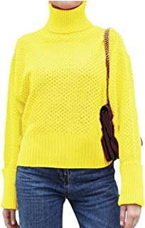 Womens Casual Turtleneck Sweaters Pullover Long Sleeve Loose Knitted Baggy Jumper Top