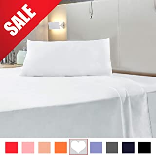 Allo Queen Size Bed Sheet Set, 3 Piece Brushed Microfiber Bed Sheets 1 Flat Sheet, 1 Fitted Sheet, and 1 Pillowcases Deep Pockets - Extra Soft, Wrinkle, Fade, Stain Resistant, Hypoallergenic - White