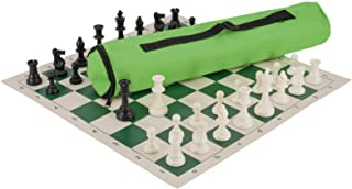 The House of Staunton Quiver Chess Set Combination - Solid Plastic - Neon Green Bag/Green Board