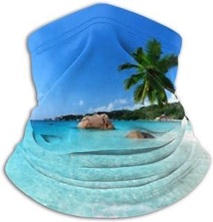 Microfiber Neck Warmer- Neck Gaiter Tube, Ear Warmer Headband ANSE Lazio Beach Praslin Island Seychelles Versatility Scarf...