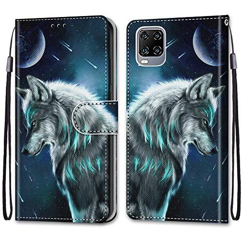 SEEYA Handyhülle mit Motiv für ZTE Axon 11 5G, Leder Hülle Flip Hülle Brieftasche 3D Muster Wolf Bleu Schutzhülle mit Kartenfach Magnetverschluss Tasche Handy Cover für ZTE Axon 11 5G