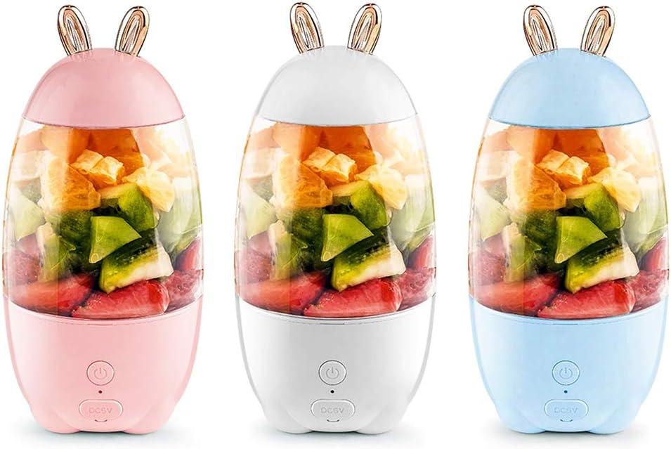 GROOMY Exprimidor, 330ml Portátil Mini USB Recargable Exprimidor eléctrico Botella Licuadora Batidora-Blanco Rosado