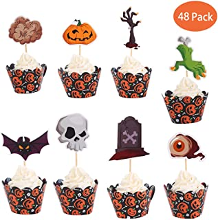 Halloween Cake Decorations Kit Skull Pumpkin Ghost Zombie Rip Cupcake Toppers for Halloween Birthday Party Favor Supplies