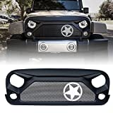 Xprite Front Grill Matte Black Gladiator Vader Grille with Star Steel Mesh for 2007-2018 Jeep Rubicon Sahara Sport...