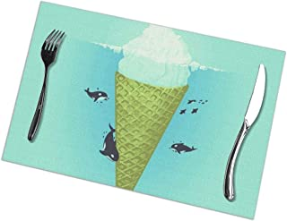 Gao808yuniqi Iceberg Ice Cream 3D Printed Tableware Mat,Placemats Set of 6,18 X 12,Snack Placemats,Beverage Placemats,Party Placemats for Dining Table,Kitchen Drink Placemat
