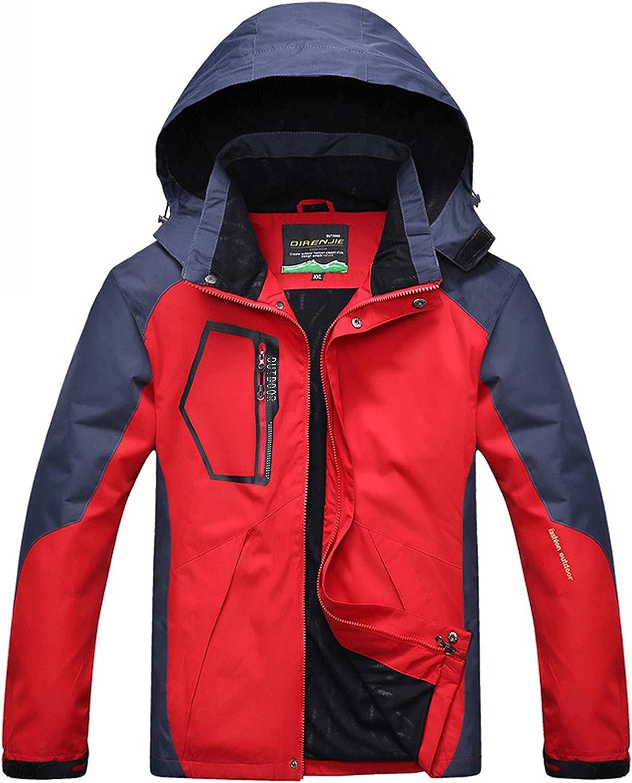 Huangse Men's Mountain Waterproof Ski Jacket Windproof Rain Jacket Winter Warm Snow Coat with Removable Hood