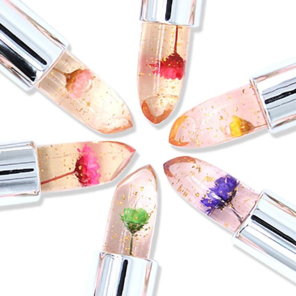 Jelly Lipstick,Outsta 6Pcs/Set Bright Flower Crystal Magic Temperature Change Long Lasting Moisturizer Color Lip,Pink(Leave a Message for Color)