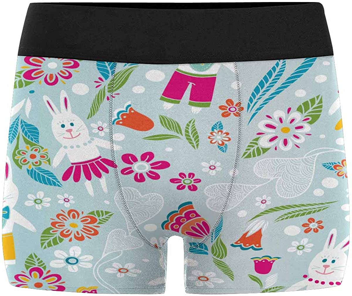 InterestPrint Youth Boy's Stylish Underpants Lightweight Classic Fit Boxer Briefs Cartoon Pattern with Rabbits