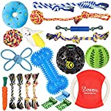 Zeaxuie 20 Pack Valued Puppy Toys for Teething Small Dogs - Puppy Chew Toys with Rope Toys, IQ Treat Balls & More Squeak Dog Chew Toys