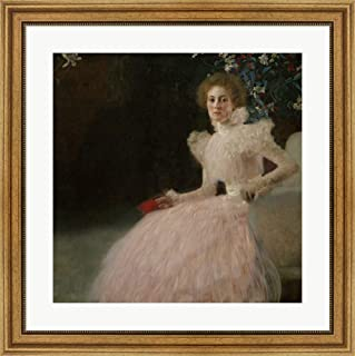Mrs. Sonja Knips by Gustav Klimt Framed Art Print Wall Picture, Wide Gold Frame, 28 x 28 inches
