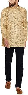 Sojanya (Since 1958) Men's Light Brown Cotton Linen PRINTED Short Kurta