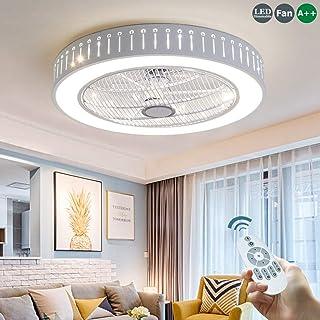 Invisible Ventilador De Techo Luz De Techo 80W LED Silencioso Ventilador De Techo Moderna Lámpara De Techo Con Luz Mando A Distancia Ventilador Plafones Salón Dormitorio Habitación Para Niños