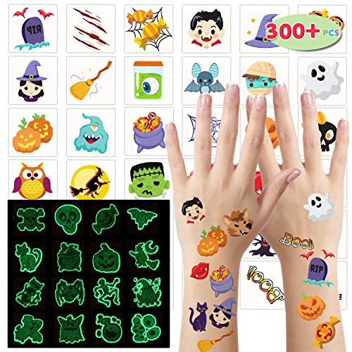 300+ Assorted Halloween Temporary Tattoos including 90 Glow in the Dark Tattoos (54 Designs) for Kids Halloween Trick or Treat Party Supplies, Class Hang out Give away Treat!