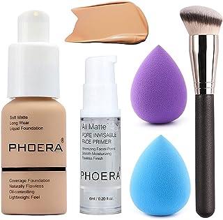 5PCS Liquid Foundation Set Set مایع مایع مایع مایع مایع مایع تنفس کرم نامرئی پوشش کانسیلر با پرایمر صورت ، برس فونداسیون ، اسفنج آرایشی (104 Buff Beige Makeup Set)