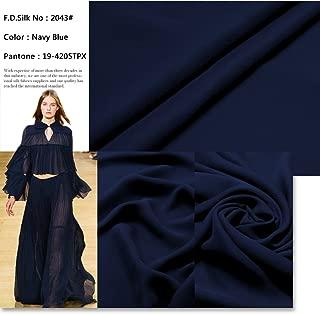F.d.silk Navy Blue 100% Pure Silk Chiffon Fabric By the Yard, 48 Colors, Navy Blue Ch-043