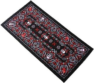 Kustom Factory - Foulard a bandana, con teschi, rosso e nero, 48 x 25 cm