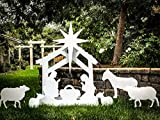 Note Card Cafe Large Outdoor Nativity Scene Yard Display Set | Front Lawn Sign Christmas Décor | 55'x 40'x 17' | Includes Additional Characters and Staking Kit
