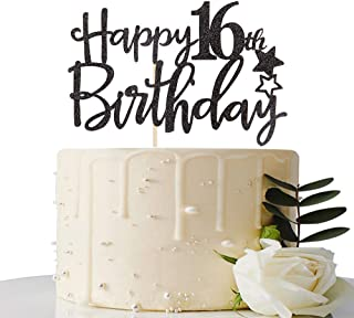 MaiCaiffe Black Happy 16th Birthday Cake Topper,Hello 16,Cheers to 16 Years, 16 & Fabulous,Sweet 16 Party Decoration