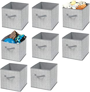 mDesign Soft Fabric Closet Storage Organizer Bin Box - Front Handle, for Cube Furniture Shelving Units Bedroom, Nursery, Toy Room - Textured Print - Large, 8 Pack - Gray