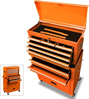 Removable Tool Chest Large Capacity Tool Box 4-Wheel Rolling Tool Cabinet Single Handle Lockable 2 in 1 Detachable Tool Storage Cabinet, Orange