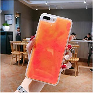 Luminous Neon Sand Case for iPhone XR XS Max X 6 6S S 7 8 Plus Glow in The Dark Liquid Glitter Quicksand Phone Cover Capa,for iPhone Xs,Orange
