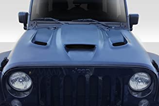 Extreme Dimensions Duraflex Replacement for 2007-2018 Jeep Wrangler Hellcat Look Hood - 1 Piece