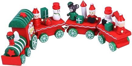Hemobllo 4pcs Mini Christmas Train Decorations Cute Wooden Xmas Train with Snowman Christmas Train Ornaments Toys Gift to ...