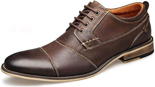 MALPYQ Chaussures en Cuir pour Homme en Cuir Marron foncé pour Hommes