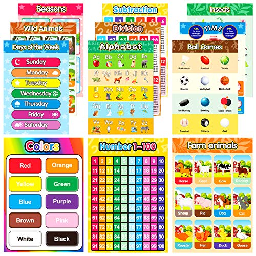 Educational Preschool Posters, Emooqi 18 Pieces(16×11in) for Toddlers and Students, Early Learning Chart for Wall, Kindergarten Learning Posters Include Alphabet, US Map, Colors,Teach Numbers and More