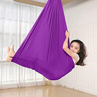 Kids Swing Indoor Aerial Yoga Hammock Safe Deluxe Aerial Kit Antigravity Yoga Swing Only (Color : Purple, Size : 100x280cm)
