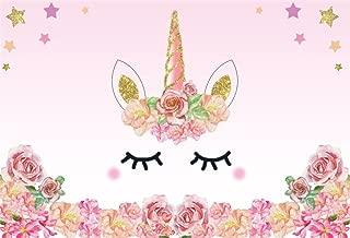 Baocicco Unicorn Backdrop Happy Birthday Backdrop 10x8ft Vinyl Photography Background Pink Flowers Cute Face Stars Unicorn Horn Girls Princess Theme Party Baby Shower Portraits Photo Studio