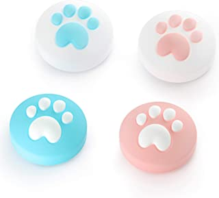 LeyuSmart Cat Paw Thumb Grips For Switch & Lite, Thumb Caps for Thumbstick, Silicone Cover Skin(Pink&Blue)