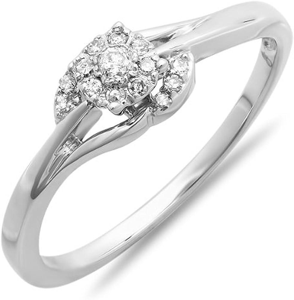 Dazzlingrock Collection 0.15 Carat (ctw) 10k Round Diamond Ladies Engagement Swirl Promise Bridal Ring, White Gold