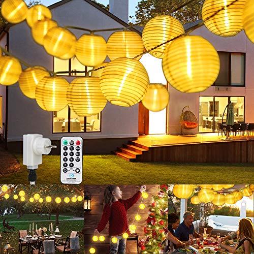 Stringa di Luci Catena Luminosa, ETMURY Giardino Luci Esterno con Telecomando 13m 40 LED Lanterne Catene Lucine Decorative Esterno Lanternine Impermeabile Luci Natale Feste Atmosfera(Bianco Caldo)
