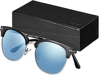 Rezi Retro Semi Rimless Polarized Sunglasses for Men...