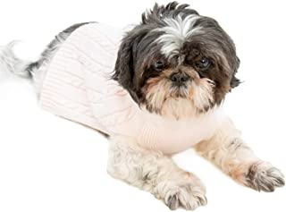 Boutique Collection Warm Sweater for Dog or Cat Pet Clothes Cable Knit Fashionable for Inside and Outside (20 in, Light Pink)