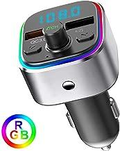Baile QC 3.0 FM Transmitter Bluetooth for Car, V5.0 Radio Transmitter with 7-Color LED Backlit, Hands-Free Calling, 2 USB Charge Ports, Support U Disk/TF Card