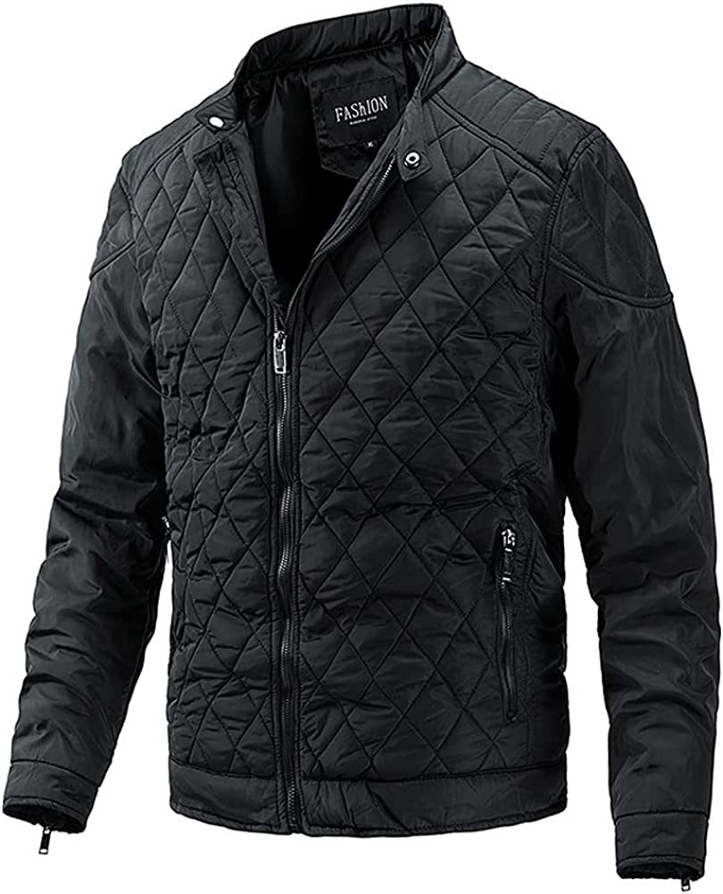 chouyatou Men's Winter Lightweight Packable Quilted Down Alternative Bomber Jacket
