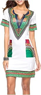 Howely Women's V Neck Dashiki African Style Slim Casual Short Dresses